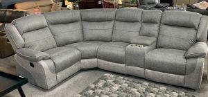 Myrius Recliner Fabric Corner Sofa LHF Two Tone Grey Endurance Fabric With Drinks Holders
