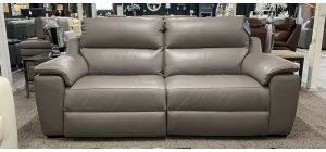 Garbo Electric 3 Seater Recliner And 2 Seater Static Grey Aniline Leather Newtrend, Available for delivery in 8 weeks
