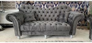 Lorraine Glamour Grey Fabric 3 + 2 Sofa Set Studded Round Arms With Plush Velvet And Wooden Legs