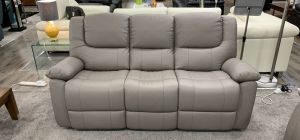 Harvey Recliner Semi Aniline Leather Sofa Set 3 + 2 + 1 Seater Taupe Grey