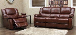Harvey Recliner Semi Aniline Leather Sofa Set 3 + 2 + 1 Seater Tabac