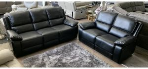 Holton Recliner Leathaire Sofa Set 3 + 2 Seater Black