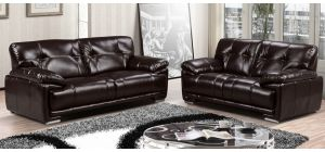 Prezzo 3 + 2 Espresso Brown Leathaire Sofa Set With Chrome Legs