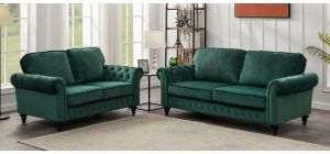 Marley 3 + 2 Dark Green Velvet Sofa Set With Scroll Arms And Wooden Legs