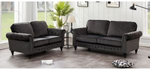 Marley 3 + 2 Graphite Grey Velvet Sofa Set With Scroll Arms And Wooden Legs