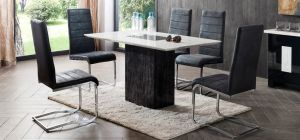 Jenson Marble 1.4m x  85cm Dining Table With 4 Grey Microfibre Chairs Ex-Display Showroom Model