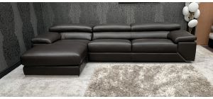 Torino Semi Aniline Leather Corner Sofa LHF Ex-Display Showroom Model Full Italian Leather 46725