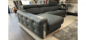 Dubai Semi Aniline Leather Corner Sofa LHF Grey Pedro Ortiz Hand Made Sofa
