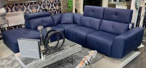 Zaira Semi Aniline Leather Corner Sofa LHF Blue Pedro Ortiz Hand Made Sofa