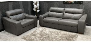 Venezia Semi Aniline Leather Sofa Set 3 + 1 Seater Grey Ex-Display Showroom Model 46742