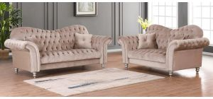 Lorraine Glamour Beige Fabric 3 + 2 Sofa Set Studded Round Arms With Plush Velvet And Wooden Legs