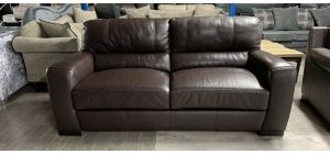 Lucca Brown Leather 3 Seater Static Sofa With Electric Recliner Armchair Sisi Italia Semi-Aniline Ex-Display Showroom Model 46871