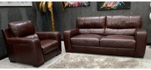 Lucca Semi Aniline Leather Static 3 Seater + Electric Armchair Oxblood Ex-Display Showroom Model 46726