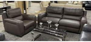 Lucca Semi Aniline Leather Static 3 Seater With Electric Armchair Brown Ex-Display Showroom Model