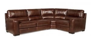 Lucca RHF Corner + 1 Seater with Footstool Marinelli Italia Real Leather Brown Showroom Model