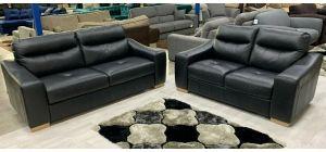 Lucca Semi Aniline Leather Sofa Set 3 + 2 Seater Black Ex-Display Showroom Model
