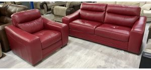 Lucca Semi Aniline Leather Sofa Set 3 + 1 Seater Red Ex-Display Showroom Model 80116