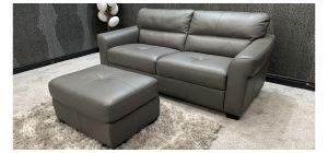 Sis Italia Semi Aniline Leather Sofa Set 3 Grey With Footstool Ex-Display Showroom Model 46747