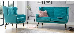 Monty Lagoon Fabric 2 + 1 Sofa Set