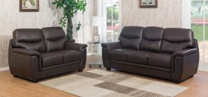 Monty Leather Sofa Set 3 + 2 + 1 Seater Brown, Delivery In 12 Weeks