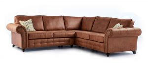 Oakland Tan Large 2C2 Fabric Corner Sofa With Studded Round Arms And Wooden Legs
