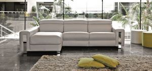 Dubai Semi Aniline Leather Corner Sofa LHF Cream Pedro Ortiz Hand Made Sofa