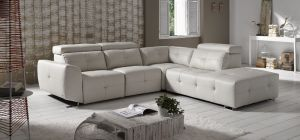 Zaira Semi Aniline Leather Corner Sofa LHF Cream Pedro Ortiz Hand Made Sofa