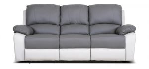Rockford Recliner Leather Sofa 3 Seater Two Tone Grey Delivery in 5 weeks