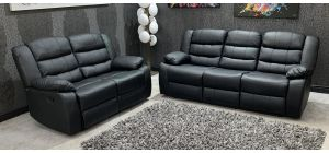 Roma 3 + 2 Black Bonded Leather Manual Recliners With Drop Down Drinks Holder, 21 Working Days Delivery