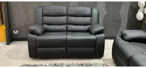 Roman Black Recliner Leather Sofa 2 Seater Bonded Leather, 21 Working Days Delivery