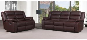 Roman Brown Bonded Leather 3 + 2 + 1 Sofa Set Manual Recliner