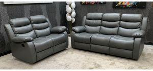 Roman Grey Bonded Leather 3 + 2 + 1 Sofa Set Manual Recliner