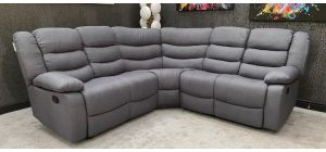 Roma Large 2C2 Recliner Fabric Corner Sofa Grey With Double Drop Down Drinks Holders