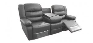 Romi Recliner Leather Sofa 3 Seater Grey Bonded Leather, 21 Working Days Delivery