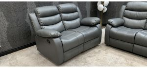 Roman Recliner Leather Sofa 2 Seater Grey Bonded Leather, 21 Working Days Delivery