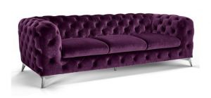 Sandringham Fabric Sofa Set 3 + 3 Seater Purple