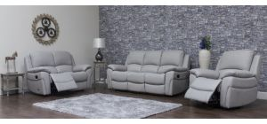 Serena Pearl Grey Reclining 3 + 2 Seater Leather Sofa Set - Delivery In 7 Weeks