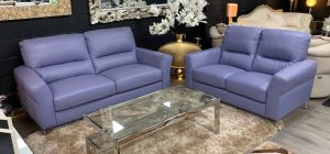 Winona Lavender Semi Aniline 3 + 2 Leather Sofa Set With Chrome Feet