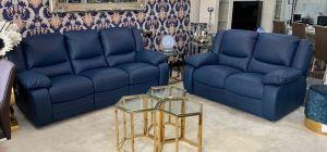 Virginia Blue Semi Aniline Electric 3 Seater Recliner Plus 2 Static Sofa
