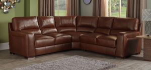 Lucca Semi Aniline Leather Large Corner Sofa 3c3 Brown Showroom Model 6152