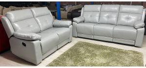 Prada Recliner Leather Sofa Set 3 + 2 Seater Light Grey Leather Gel