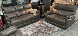 Capri Recliner Leather Sofa Set 3 + 2 + 1 Seater Spice Grey