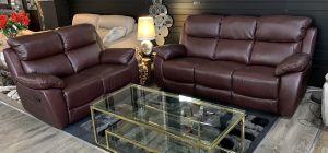 Rivoli Recliner Leather Sofa Set 3 + 2 Seater Wine