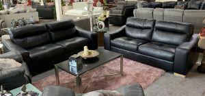 Palmero Semi Aniline Leather Sofa Set 3 + 3 Seater Black Showroom Model 6164