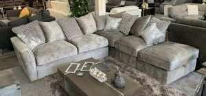 Wilmslow Fabric Corner Sofa RHF Grey With Scatter Cushions