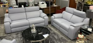 Bari Electric 3 Seater Recliner With Static 2 Seater Blue Semi Aniline Leather and Adjustable Headrests