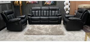 Somerton Manual Recliner 3 Seater With Two Recliner Rocking Chairs Black Ex-Display Showroom Model 46727
