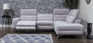 Sorrento Fabric Corner Sofa RHF Mist Grey Adjustable Headrests