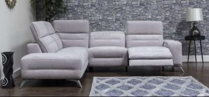 Sorrento Fabric Corner Sofa LHF Mist Grey Adjustable Headrests