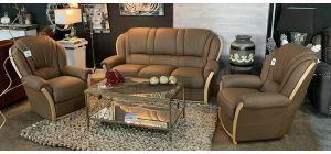 Mini Divani Tania Semi Aniline Leather Sofa Set 3 + 1 + 1 Seater Dark Cappuccino And Wood